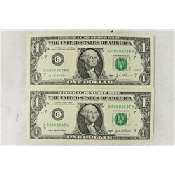 2-2003-A $1 FRN'S LOW CONSECUTIVE SERIAL 'S UNC