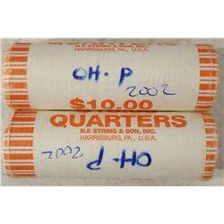 2-$10 ROLLS OF 2002-P OHIO QUARTERS BRILLIANT UNC