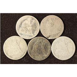 1883,86,87,88 & 1889 SEATED LIBERTY DIMES