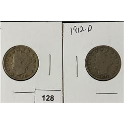 """1912 VF AND 1912-D (FINE) LIBERTY """"V"""" NICKELS"""