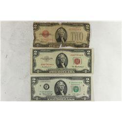 1928-D  & 53-D $2 RED SEAL NOTES AND 1976 $2 FRN