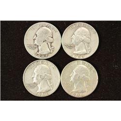 1942-S,59,62-D & 64 WASHINGTON SILVER QUARTERS