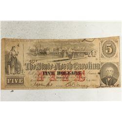 1863 STATE OF NORTH CAROLINA $5 OBSOLETE BANK NOTE