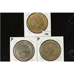 3 ASSORTED $1 GAMING TOKENS GOLDEN ACORN CASINO