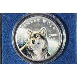 2000 REPUBLIC OF LIBERIA COLORIZED $10 TIMBER WOLF