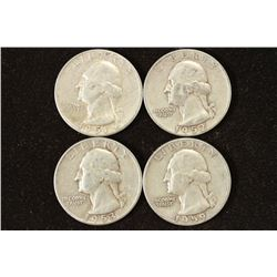 1951-S,52-S,53-S AND 1959-D WASHINGTON SILVER 1/4S