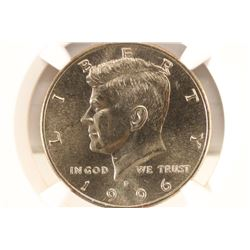 1996-P KENNEDY HALF DOLLAR NGC MS66