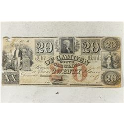 1859 BANK OF CAMDEN SOUTH CAROLINA $20