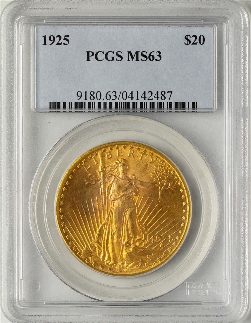 1925 $20 St  Gaudens Double Eagle Gold Coin PCGS MS63