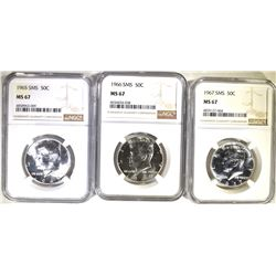 1965, 66 & 67 SMS KENNEDY HALF DOLLARS, NGC MS-67