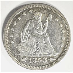 1853 ARROWS & RAYS SEATED QUARTER, XF