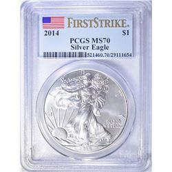 2014 AMERICAN SILVER EAGLE, PCGS MS-70 1st STRIKE