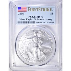 2016 AMERICAN SILVER EAGLE, PCGS MS-70 1st STRIKE