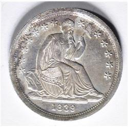 1839 SEATED DIME  NO DRAPERY  AU/BU