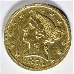 1853-C $5 GOLD  AU