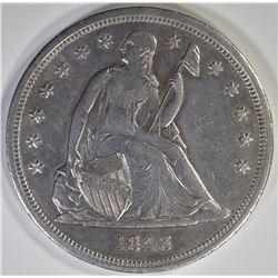 1843 SEATED DOLLAR  AU/BU