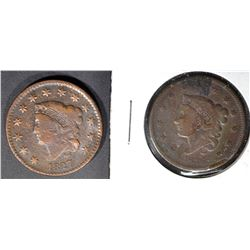 1827 VF CORROSION & 1836 VG LARGE CENTS