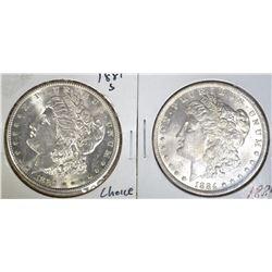 1884-O & 1881-S MORGAN DOLLARS CH BU