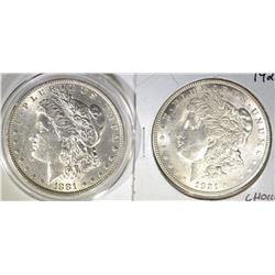 1881 AU/BU & 1921 CH BU MORGAN DOLLARS