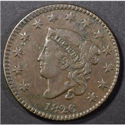 1826 LARGE CENT, VF/XF