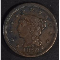 1847 LARGE CENT, XF