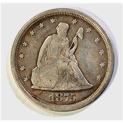 1875-S TWENTY CENT PIECE, VF