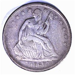 1867-S SEATED HALF DOLLAR VF/XF