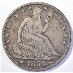 1854-O W/ARROWS SEATED HALF DOLLAR, VF