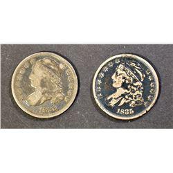 1835 VG/F & 1836 VG/F a few marks BUST DIMES