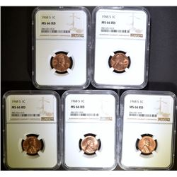 (5) 1968-S LINCOLN CENT NGC MS66RD