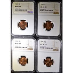 4 -NGC MS-66RD LINCOLN CENTS: 2-1973,