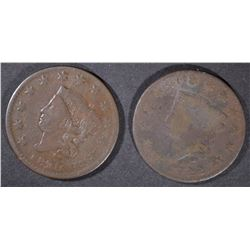 1820/19 VF & 22 VG LARGE CENTS