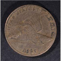 1857 FLYING EAGLE CENT, XF/AU