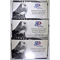 2004, 2005 & 2007 SILVER QUARTER PROOF SETS