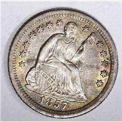 1857-O SEATED HALF DIME, AU+