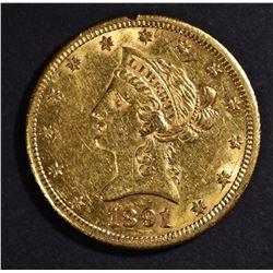 1891-CC $10 GOLD LIBERTY AU/BU SMALL RIM NICK OBV.
