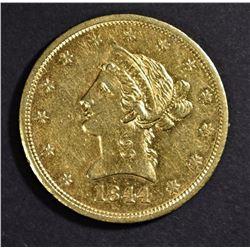1844-O $10 GOLD LIBERTY AU/BU
