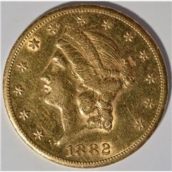 1882-CC $20 GOLD LIBERTY AU/BU