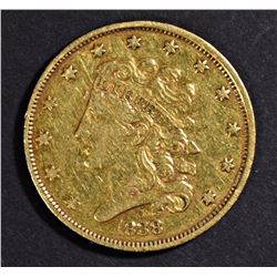 1838-C $5 GOLD LIBERTY XF MARK ON REV