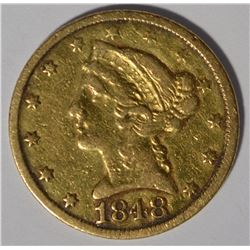 1848-C $5 GOLD VF/XF
