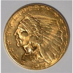 1914-D $2.5 GOLD INDIAN CH BU
