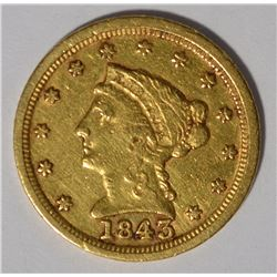 1843-C $2.5 GOLD LIBERTY XF