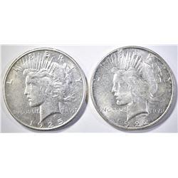 1922-D BU & 25-S AU PEACE DOLLARS