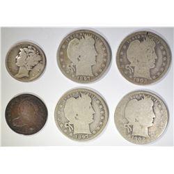6 COIN LOT:  (4) CIRC BARBER QUARTERS 2 1897, 2 19