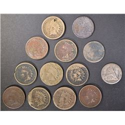 (10) LOW GRADE INDIAN CENT DATED 1859-63 &