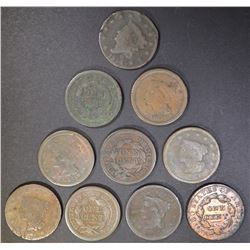 (10) LOW GRADE LARGE CENTS