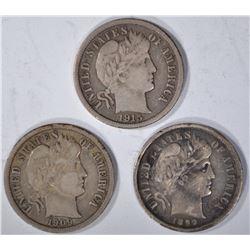 (3) BARBER DIMES: 1899 XF, 1909 VF, 1915 XF