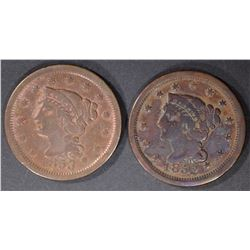 1853 XF & 1852 VG LARGE CENTS
