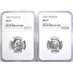 2-1942-P SILVER JEFFERSON NICKELS, NGC MS-67