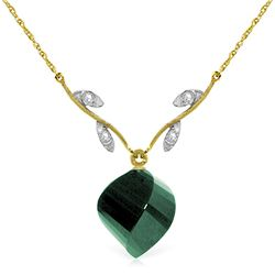 Genuine 15.27 ctw Green Sapphire Corundum & Diamond Necklace Jewelry 14KT Yellow Gold - REF-46M7T